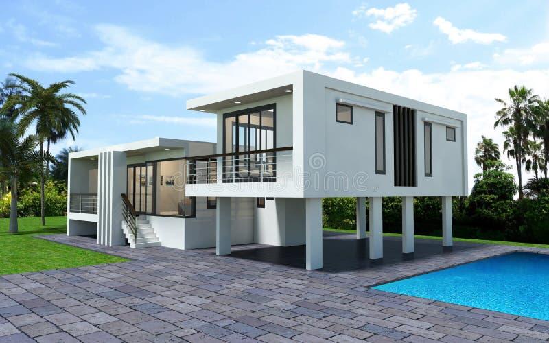 3d rendono della casa moderna isolato illustrazione vettoriale