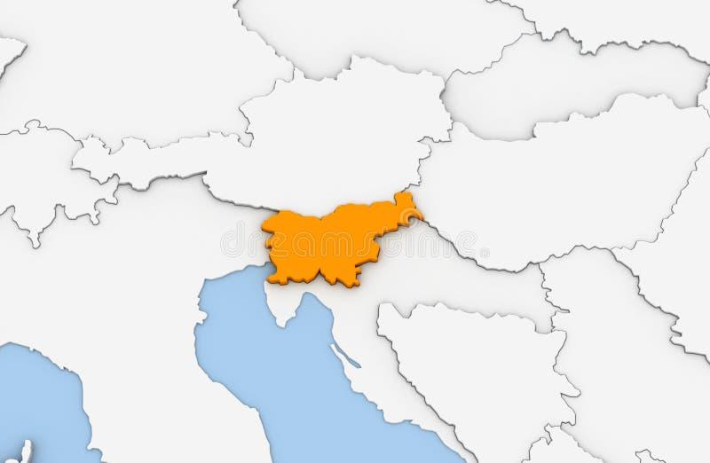 3d rendono della mappa astratta della Slovenia illustrazione vettoriale