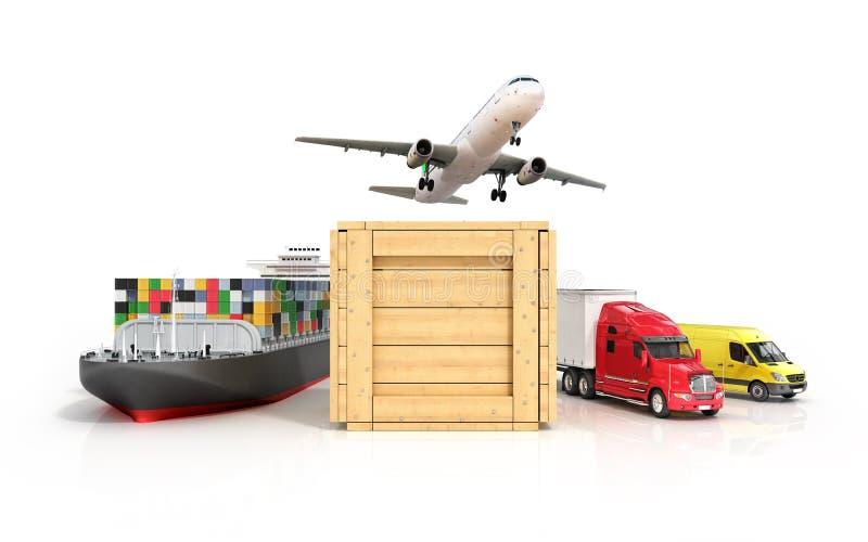 3d rendono della modalità di trasporto differente illustrazione vettoriale