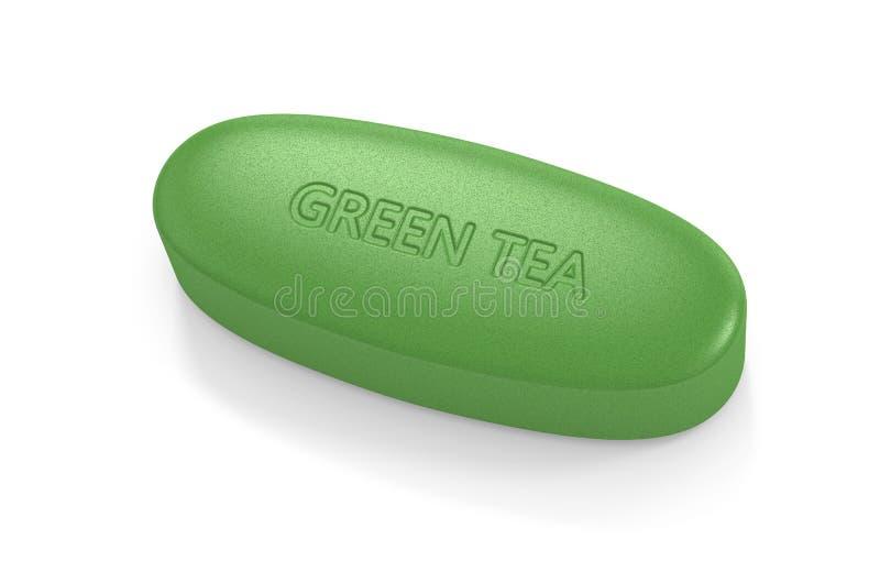 3d rendono della pillola del tè verde illustrazione di stock