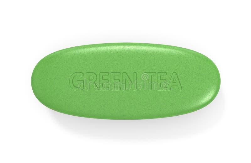 3d rendono della pillola del t? verde illustrazione vettoriale