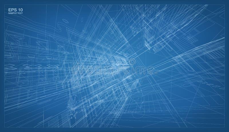3D rendono della struttura del wireframe della costruzione royalty illustrazione gratis