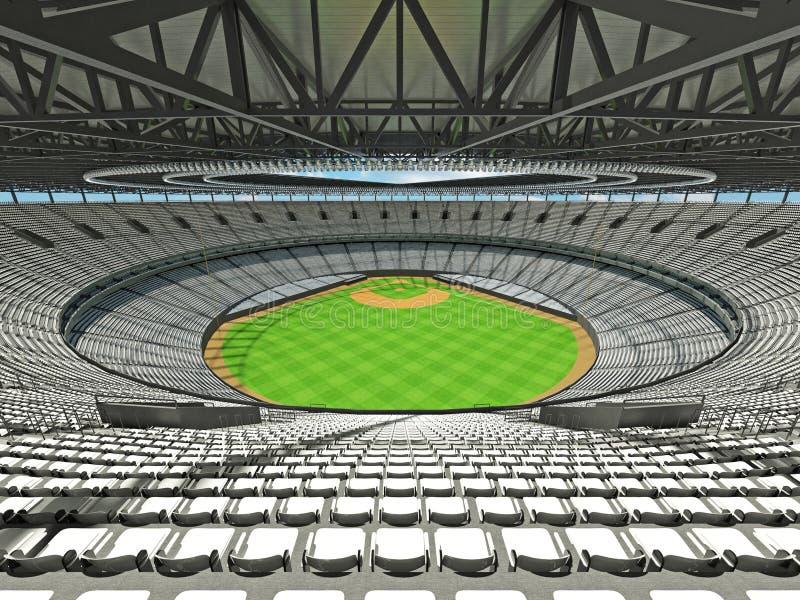 3D rendono dello stadio di baseball con i sedili bianchi e le scatole di VIP illustrazione di stock