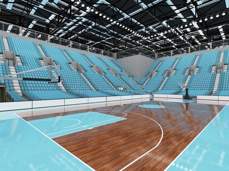 3D rendono di bella arena di sport moderna per pallacanestro con i sedili degli azzurri illustrazione vettoriale