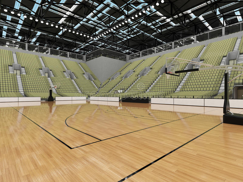 3D rendono di bella arena di sport moderna per pallacanestro con i sedili di gray di verde verde oliva royalty illustrazione gratis