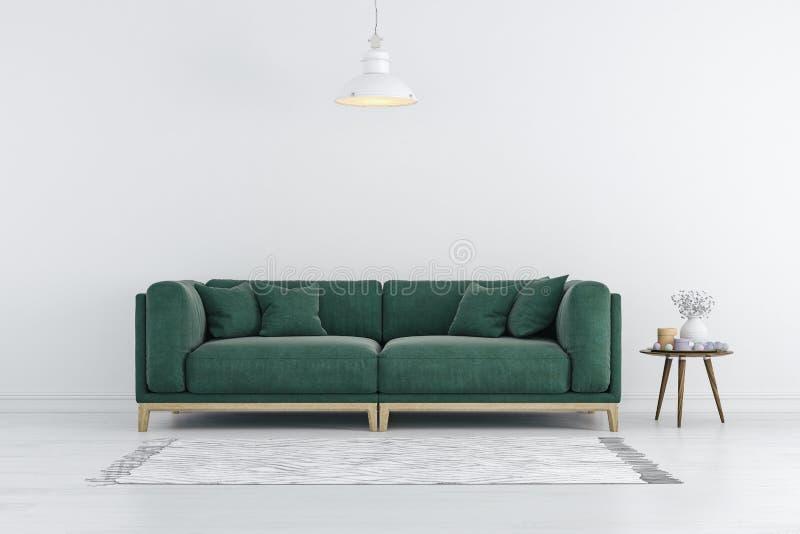 3d rendono di bello interno con il sofà verde e le pareti bianche royalty illustrazione gratis