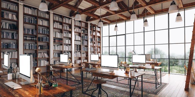 3d rendono di bello interno industriale di stile royalty illustrazione gratis
