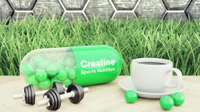 3d rendono di grande pillola della creatina, di due teste di legno e di una tazza di caffè Nutrizione di sport per l'illustrazion immagini stock libere da diritti