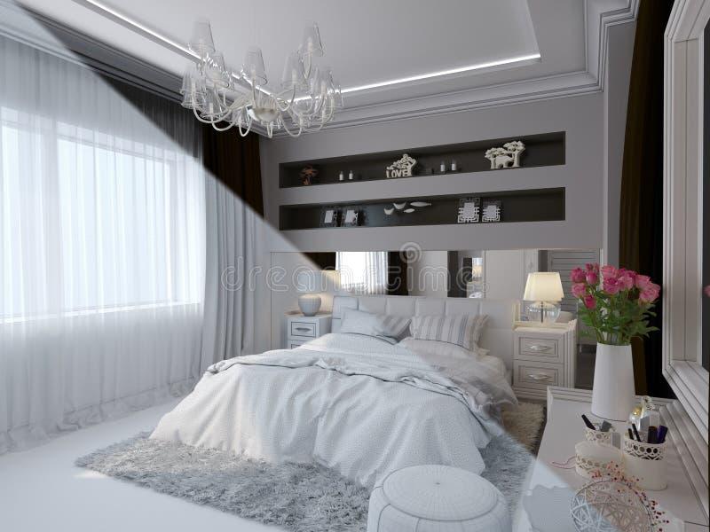 3d rendono di interior design della camera da letto in uno