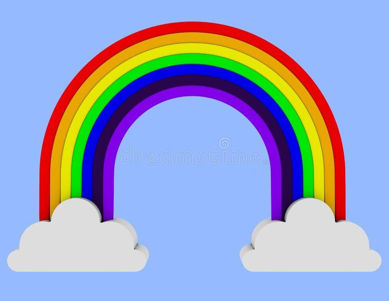 3d rendono di un arcobaleno che misura due nuvole - Immagini di gufi arcobaleno ...