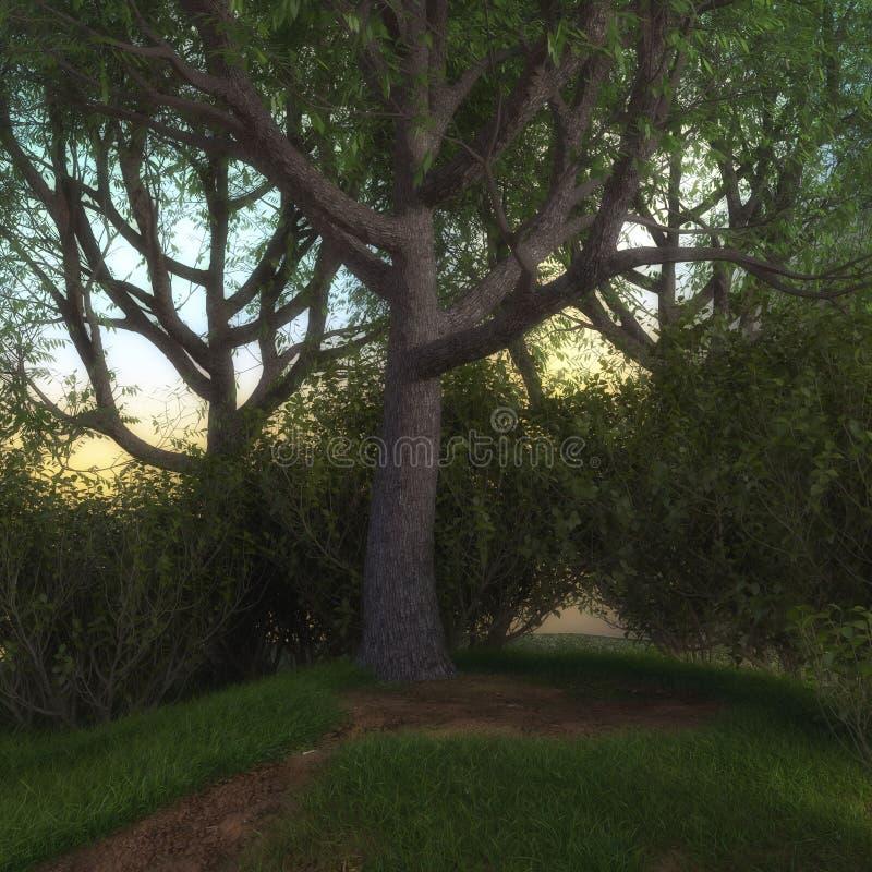 3D rendono di un bordo incantevole della foresta leggiadramente illustrazione vettoriale