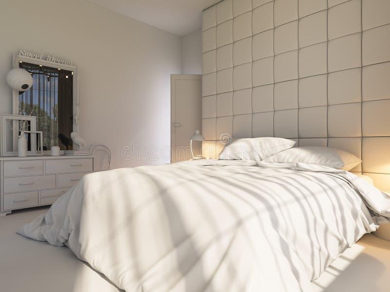 3d rendono di un interior design di una camera da letto illustrazione vettoriale