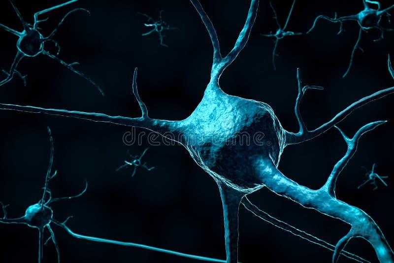 3d rendono di un primo piano delle cellule nervose o del neurone su un fondo scuro con lo spazio della copia royalty illustrazione gratis