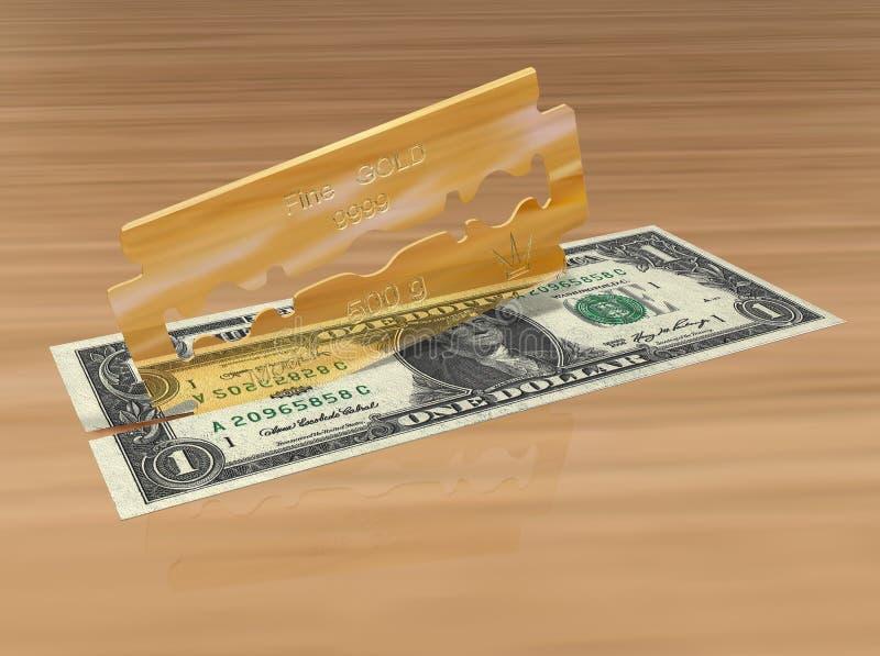 3D rendono di una lama dell'oro che taglia un dollaro illustrazione di stock