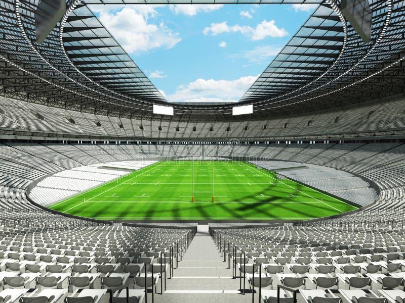 3D rendono di uno stadio rotondo di rugby con i sedili bianchi e le scatole di VIP illustrazione di stock