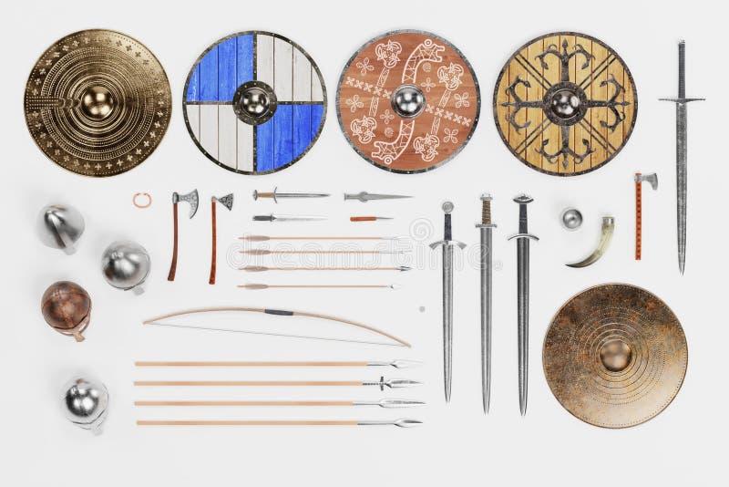 3d rendono di Viking Objects Collection illustrazione vettoriale