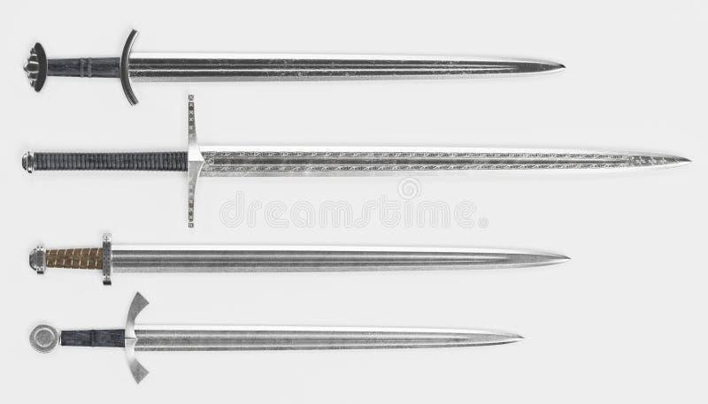 3d rendono di Viking Swords illustrazione vettoriale