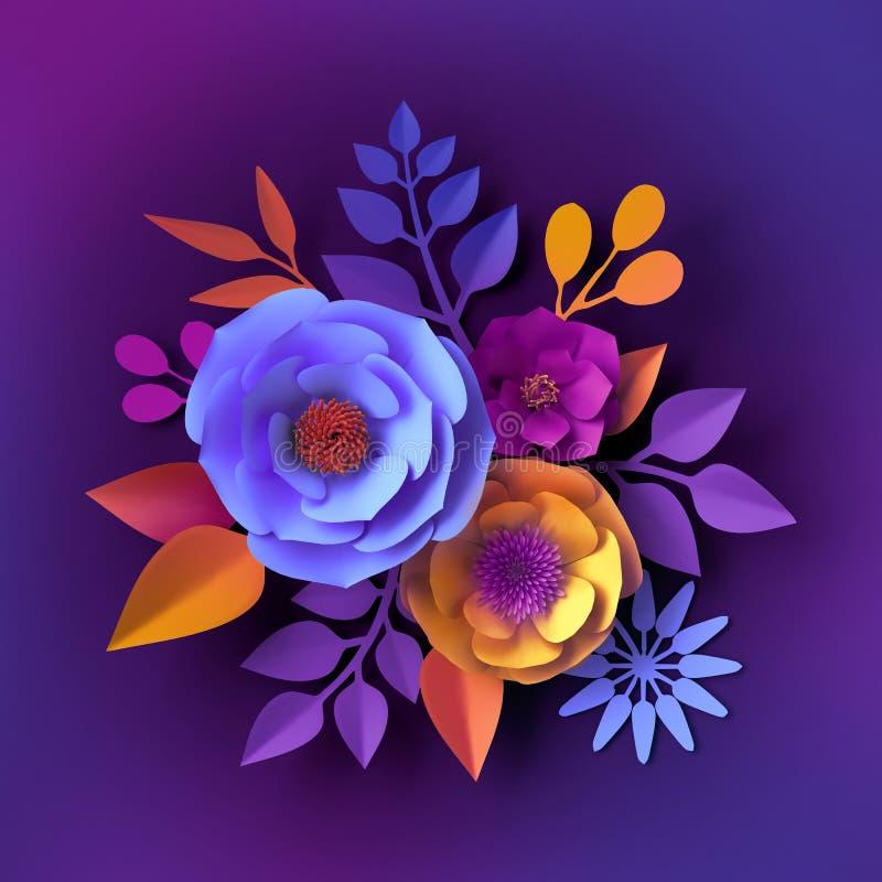 3d rendono, fiori di carta al neon, fondo botanico, concetto floreale di festa, progettazione decorativa variopinta della parete, illustrazione di stock