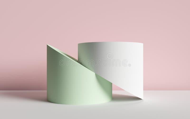 3d rendono, fondo astratto, cilindri tagliati, forme geometriche primitive, tavolozza di colore pastello, modello semplice, proge illustrazione di stock