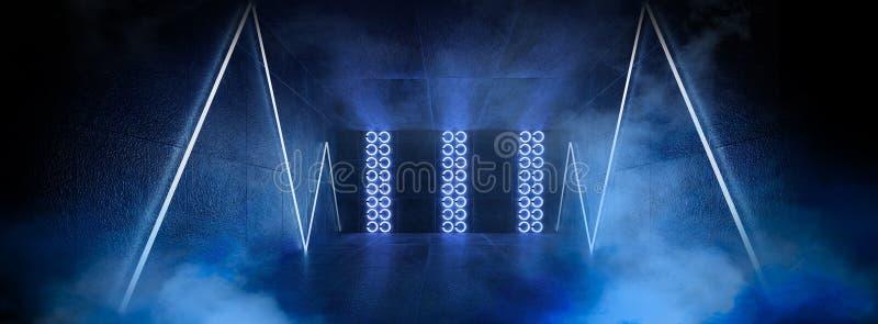 3d rendono, fondo astratto, tunnel, luci al neon, realtà virtuale, arco, blu rosa, colori vibranti, manifestazione del laser, iso fotografie stock