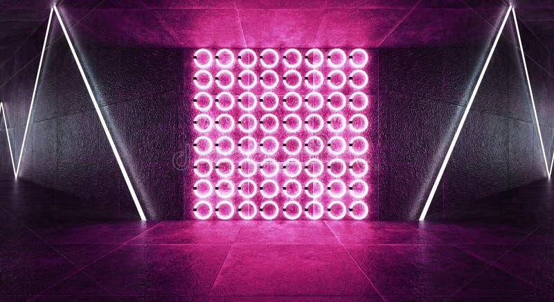 3d rendono, fondo astratto, tunnel, luci al neon, realtà virtuale, arco, blu rosa, colori vibranti, manifestazione del laser, iso fotografie stock libere da diritti