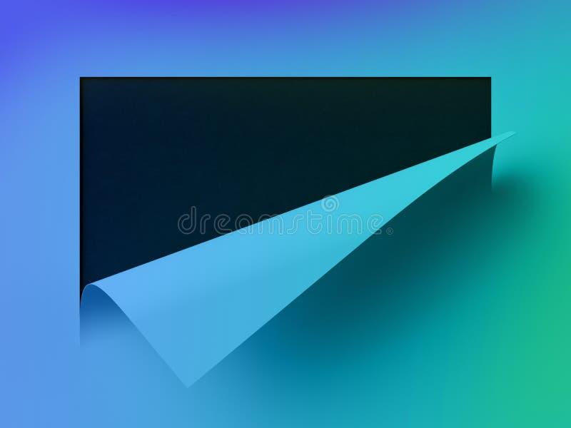 3d rendono, fondo di carta al neon astratto, ricciolo dell'angolo della pagina, foglio bianco, elemento di progettazione per la p illustrazione di stock