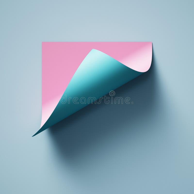 3d rendono, fondo di carta astratto blu rosa, ricciolo della pagina, angolo arricciato, modello moderno creativo dell'insegna, el royalty illustrazione gratis