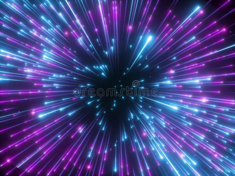 3d rendono, fuochi d'artificio porpora, Big Bang, galassia, fondo cosmico astratto, celeste, stelle, universo, velocità della luc illustrazione di stock