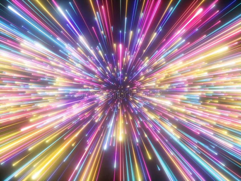 3d rendono, fuochi d'artificio variopinti, Big Bang, galassia, fondo cosmico astratto, celeste, bellezza dell'universo, luce al n illustrazione di stock