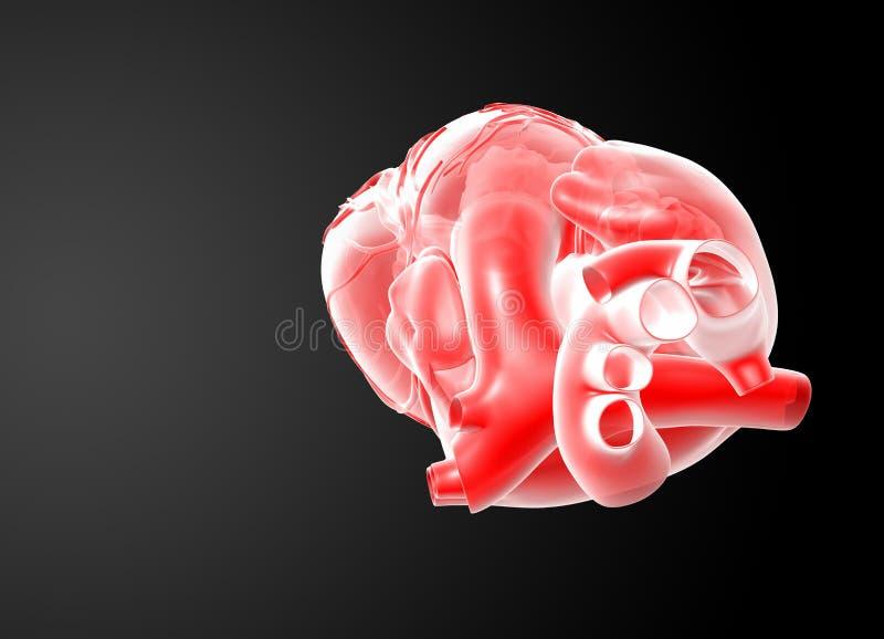 3d rendono il cuore rosso illustrazione vettoriale