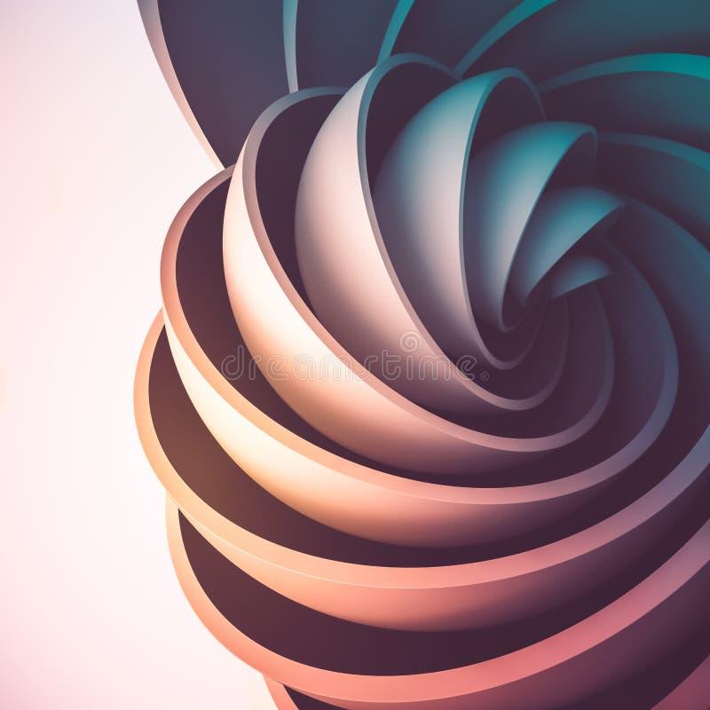 3D rendono il fondo astratto Forme illuminate variopinte nel moto L'emisfero gira in una spirale illustrazione di stock