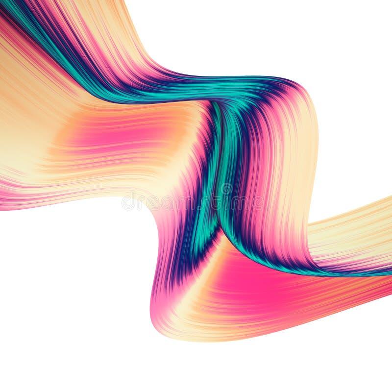 3D rendono il fondo astratto Forme torte variopinte nel moto Arte digitale generata da computer per il manifesto, aletta di filat illustrazione vettoriale