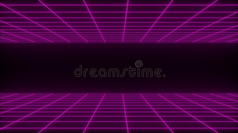 3D rendono il fondo astratto netto del wireframe dello synthwave Retro linea futura illustrazione di griglia illustrazione di stock