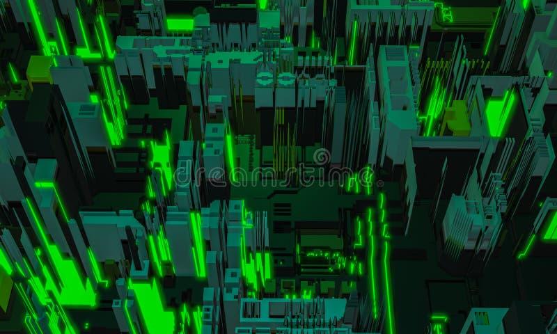3d rendono il frammento di costruzione dell'architettura di verde digitale dell'estratto Città cyber Ripetizione di tecnologia de immagine stock libera da diritti