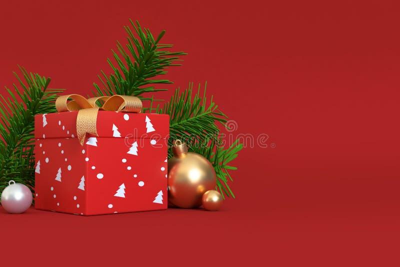 3d rendono il palla-nastro rosso dell'oro del contenitore di regalo di scena del fondo astratto di natale illustrazione vettoriale