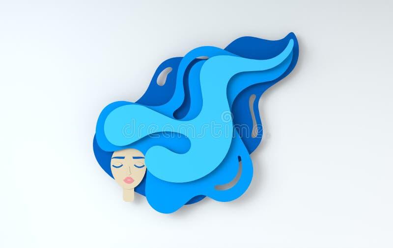 3d rendono il ritratto di giovane bella donna con capelli lunghi Arte stratificata carta digitale moderna Stile di origami Bellez royalty illustrazione gratis