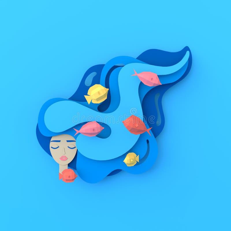 3d rendono il ritratto di giovane bella sirena della donna con capelli ondulati lunghi Vita di mare subacquea di carta con i pesc illustrazione vettoriale