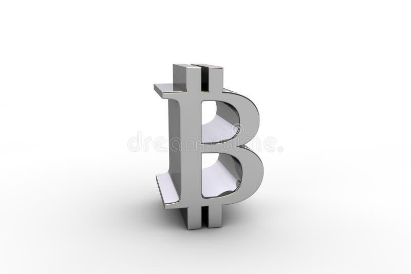 3D rendono il simbolo di valuta del bitcoin immagine stock libera da diritti