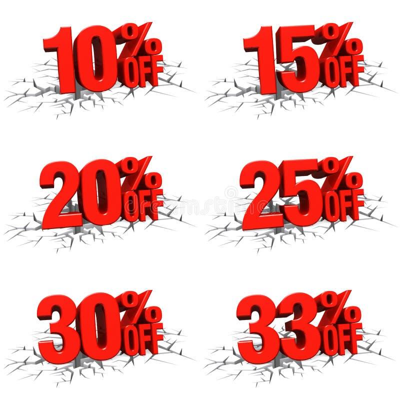 3D rendono il testo rosso 10,15,20,25,30,33 per cento fuori sulla crepa bianca royalty illustrazione gratis