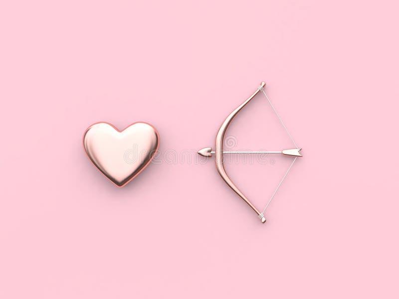 3d rendono l'arco di concetto del biglietto di S. Valentino ed il fondo rosa del cuore della freccia illustrazione vettoriale