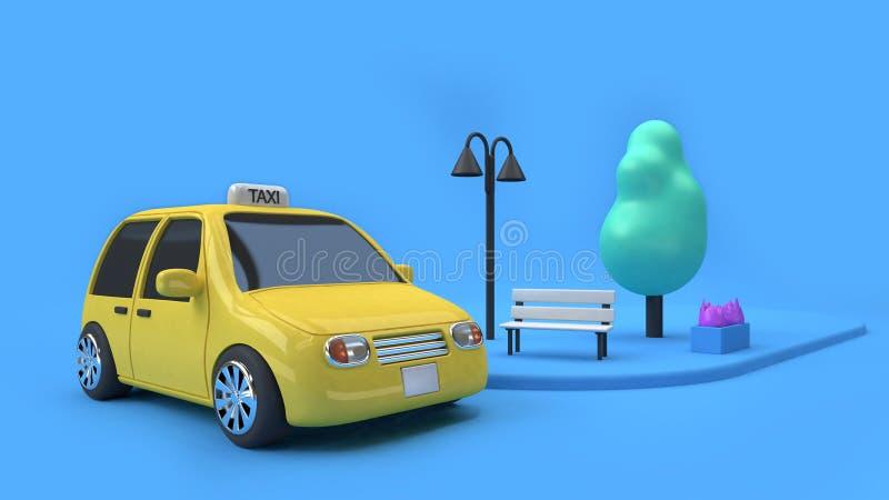 3d rendono l'automobile gialla di eco del taxi e una lampada dell'albero della sedia sul sentiero per pedoni della via, stile del illustrazione di stock