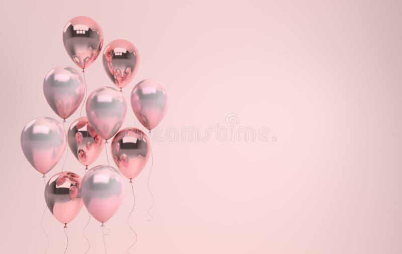 3d rendono l'illustrazione dei palloni rosa lucidi realistici o della perla illustrazione vettoriale