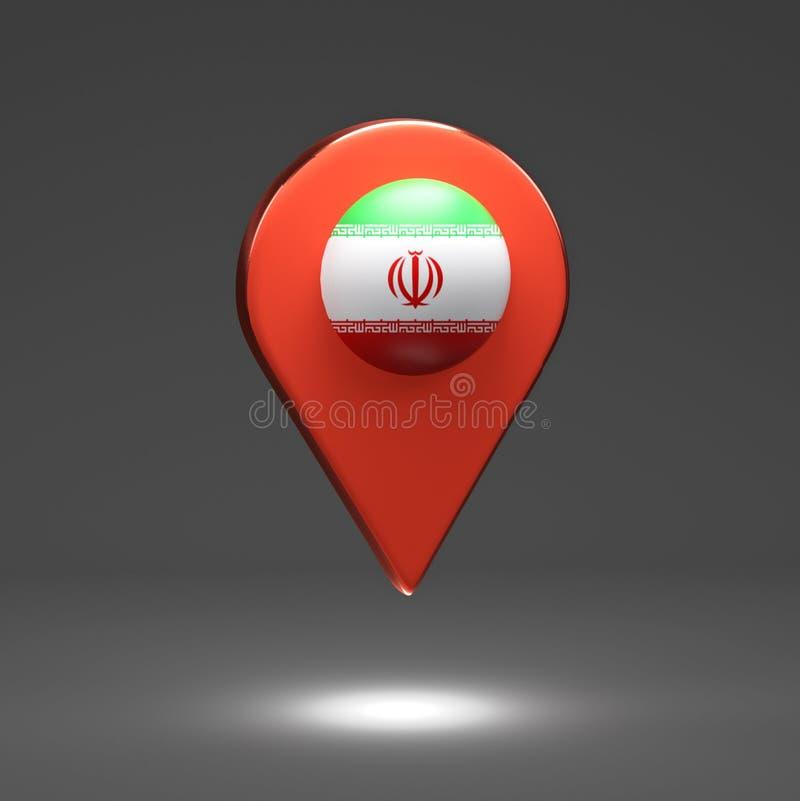 3d rendono l'illustrazione Puntatori della mappa con la bandiera Iran royalty illustrazione gratis