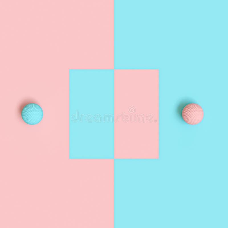 3d rendono l'immagine delle palle da golf blu e rosa su fondo alternante illustrazione di stock