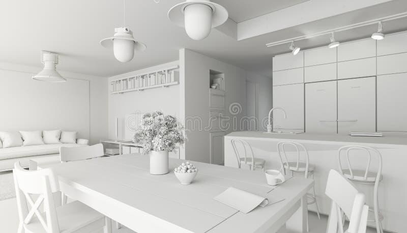 3d rendono l'immagine di bella stanza interna bianca, stile scandinavo illustrazione vettoriale