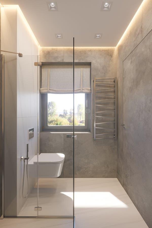 3d rendono l'interior design del bagno con la passeggiata di vetro in doccia royalty illustrazione gratis