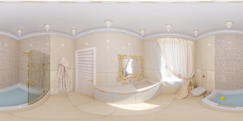 3d rendono l'interior design di panorama di un bagno illustrazione vettoriale