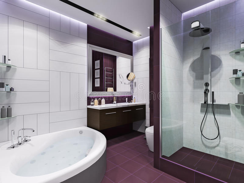 3d rendono l'interior design di un bagno royalty illustrazione gratis