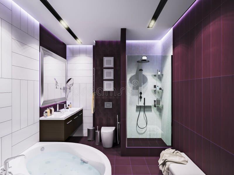 3d rendono l'interior design di un bagno illustrazione di stock