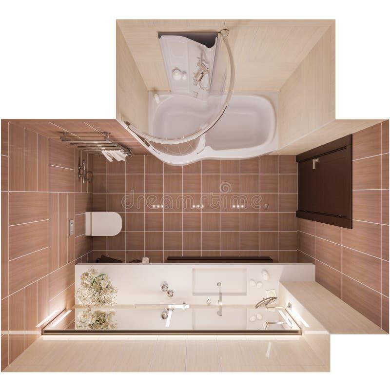 3d rendono l'interior design di un bagno moderno con un grande mirr royalty illustrazione gratis
